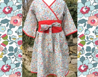 Made to order: kimono inspired dress in liberty of London fabric, 3/4 sleeves