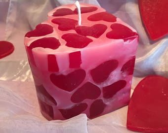 Mini-Hearts Pillar Heart Candle