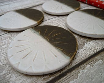 Bespoke Ceramic stoneware coasters, Hand-made in Yorkshire- Hand made flower coasters