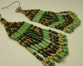 Brick Stitch Native Beaded Earrings in Greens