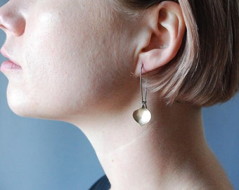 Golden Onion Earring--Brushed gold filled sheet on oxidized silver kidney earwires