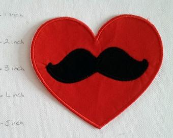 Moustache Heart, Patch, Iron On, DIY