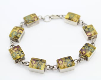 "Vintage Sterling Silver Link Bracelet w Flowers in Resin Cubes 6.5"". [6147]"