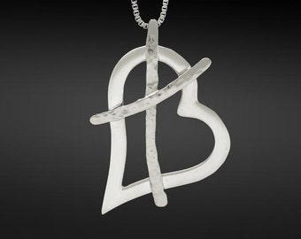 Cross My Heart, I Love You Medium Necklace in Sterling Silver with 24 inch Sterling Silver box chain