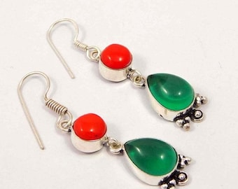 Created Red Coral &  Chalcedony Silver Plated Earrings  Jewelry