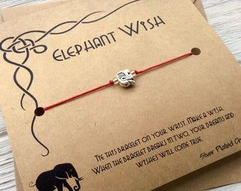 Elephant Jewelry Elephant Bracelet Gift For Friend Gift For Her Gifts For Women Lucky Elephant Wish Bracelet Elephant Charm Elephant Gift