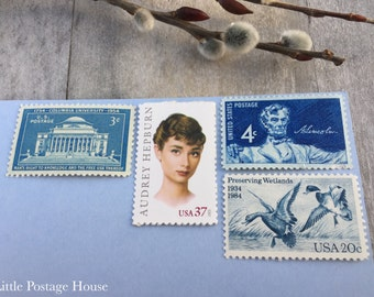 Gray Blue | Vintage Stamps | Unused Postage Stamps | For 5 Letters | 64 Cents