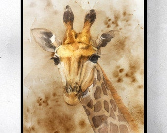 Giraffe art print, giraffe wall decor, animal illustration, giraffe painting, giraffe illustration, giraffe watercolor, animal painting