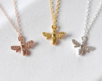 SUMMER Honey Bee Necklace Sterling Silver/Gold Filled/Rose Gold Filled Bee Necklace, Bee Pendant, Bee Jewelry, Tiny Bee, Bee Gift, Gold Bee