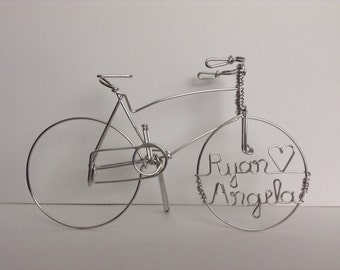Cruiser Bike Wedding Cake Topper, Personalized
