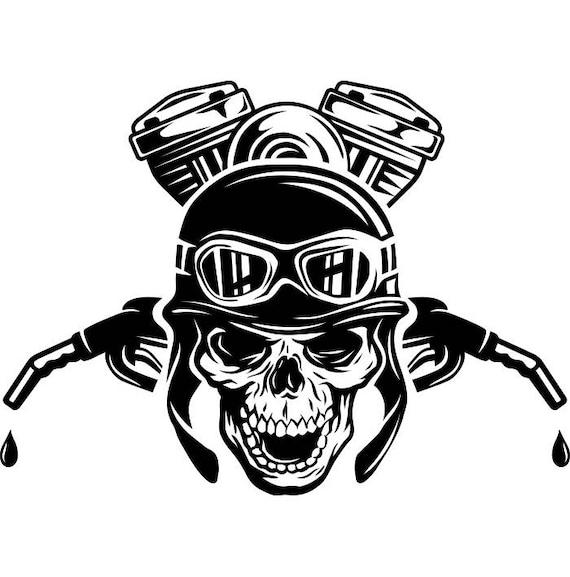 Motorcycle Logo 3 Skull Engine Gas Nozzle Bike Biker Mechanic