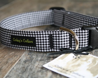 """Dog Collar, Dog Collars, Gingham Dog Collar, Plaid Dog Collar, Boy Dog Collar, Girl Dog Collar, Black and White, """"The Gingham in Black"""""""
