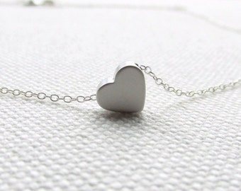 Tiny Heart Necklace Dainty Jewelry Sterling Silver Chain Minimal Delicate Modern