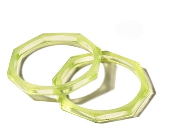 "Lot (2) 2"" antique Czech octagon Uranium Art glass bangles hoops earring elements"