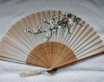Yellow Silk sakura Hand Fan with sleeve-Handheld Folding Fan, Japanese Hand Fan,folding fan,wedding yellow