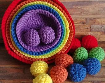 Rainbow color sorting crochet nesting bowls
