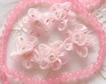 5 Handmade Flowers With Rhinestone  (1.5 inches) In Lt Pink MY-295-01Ready To Ship