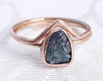Bezel Set Rough Diamond Wedding Set - Solid Gold Engagement Set - Raw Diamond Ring - Delicate Ring Set - Chevron Stacking Ring Set