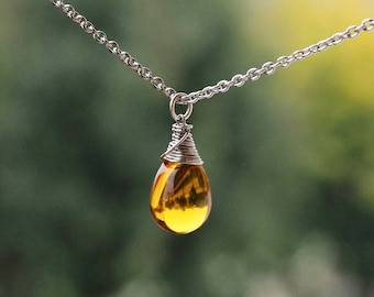 Gift for Mom Yellow Drop Pendant Necklace Wrapped Drop Necklace Stainless Steel Wire Glass Drop Necklace Yellow Silver Necklace Yellow Drop