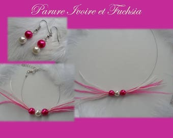 Fuchsia and ivory feather ostrich Perle 3pieces Bridal jewelry set