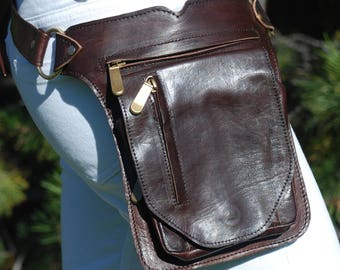Leather Hip Bag, Leather Fanny Pack Women & Men, Leather Belt Bag, Utility Belt, Leather Bum Bag, Brown Leather Hip Pack, Leather Waist Bag