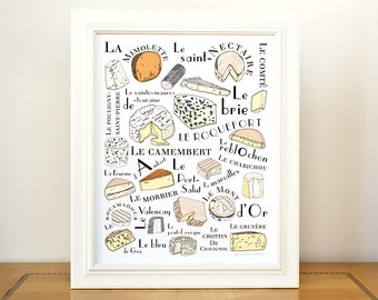 Kitchen Wall Art Print 'French Cheeses' art for kitchen - 11x14 art print Camembert Roquefort Food and Meat Series GeraldineAdams