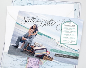Destination Wedding Save the Date Invitation - Luggage Tag Boarding Pass Design - Travel Themed Modern Printable Invite or Announcement