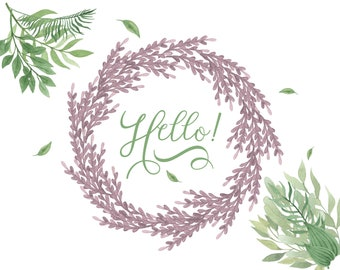 Just Because, Hello! - Botanical Card, Lavender Wreath, Floral Notecard