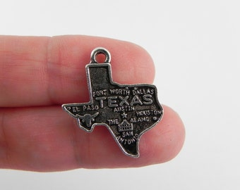 16 Texas Charms - Antique Silver - 23mm x 20mm - Lead Free - State Charm