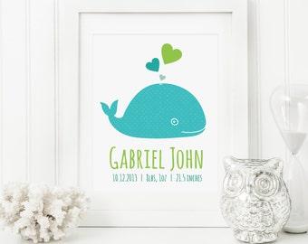 Whale Nursery Art - Whale Baby Art - Personalized Nursery Decor - Custom Baby Art - Personal Baby Gift - Whale Wall Art Print
