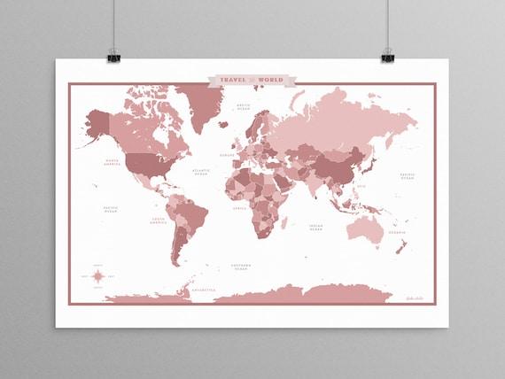 World map rose mauve a scandinavian modern design print world map rose mauve a scandinavian modern design print 13x19 mid century modern map kids room wall art kids room decor gumiabroncs Gallery