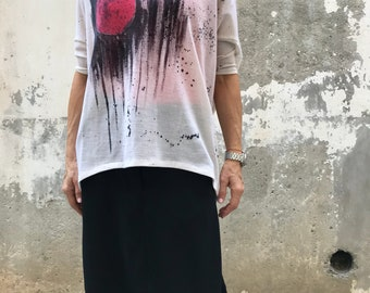 New Hand Painted Blouse / Paradox / Sheer Top / Loose Top / Boho Chic Clothing / White Blouse / Elegant Blouse PB0436