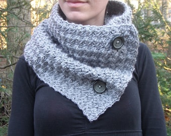 Crochet Cowl Scarf Neckwarmer in Grey Heather with Vintage Buttons