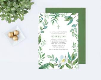 Customizable Text GREENERY BAPTISM INVITATION, Greenery First Communion, Boys First Communion, diy Invites, Leaf Editable Template Invite