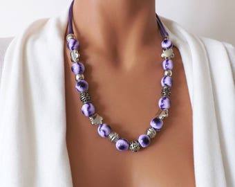 Necklace pearls necklace handmade necklace purple handmade necklace, Chic necklace, elegant necklace