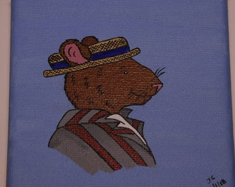 Mini Portrait Ratty of Wind in the Willows - Cute Childrens, Nursery Paintings