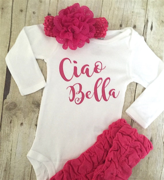 fe787e693 BABY GIRL ONESIE Ciao Bella baby girl bodysuit Italian baby