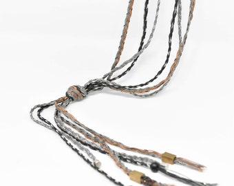 Multi Strand Wrap Necklace in Handwoven Grey and  Dark Beige  -  Triple Strand - multiple style options.  Ready to ship as seen.