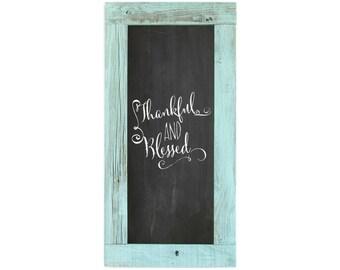 Barnwood Framed Chalkboard   24 x 12 Inch - Turquoise