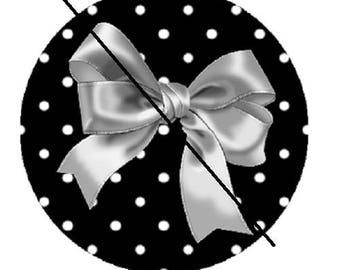 cabochon 18mm, silver gray bow