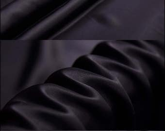 "Black 100% Pure Silk Charmeuse Fabric - Designer Solid Lining Cloth by The Yard or Meter 114 cm (44"") wide 16 Momme"