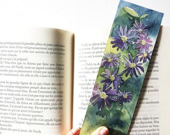 Marque-page fleuri, original aquarelle, dessin fleurs anémone, carte fleurs violettes, dessin botanique unique, dessin main, cadeau lecteur