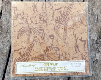 Vintage Gift Wrap All Occasion Animals SEALED 2 Sheets 7.9 SQ Ft New Old Stock Lion, Giraffe, Cheetah and More Animal Themed