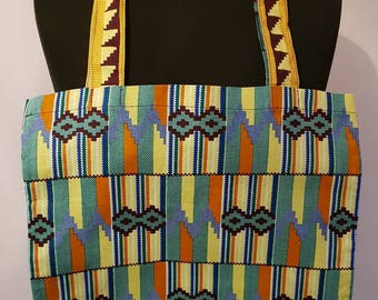 Green and Yellow African Print Tote Bag