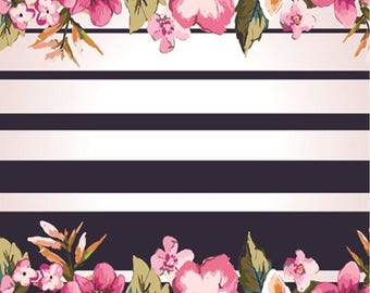 Black and White Strip Floral Print Edible Image Cake/ Cupcake Topper