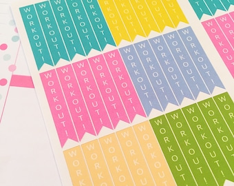 30 Workout Flag Planner Stickers- Exercise Reminder Stickers- Perfect in your Erin Condren, Plum Paper or any paper planner