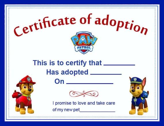 Paw Patrol Adoption Certificate printable Digital