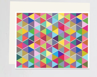 Multi-color Geometric print Greeting Card