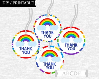 Instant Download Thank You tags Rainbow Party DIY Printable (PDSSD030)