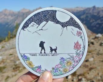 Mountain Sticker / Dog Sticker / Hiking / Backpacking / Climbing / Weatherproof and Durable / Outdoor Sticker / Bumper Sticker